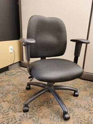 Office Desk Rolling Chair Fabric With Armrests Charcoal Gray On Wheels