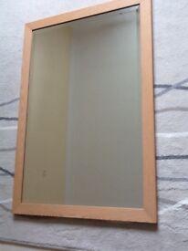 Wooden framed bevelled glass mirror wall hung 100cm x 70cm