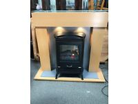 STUNNING FIRE SURROUND WITH LOG BURNER EFFECT FIRE.