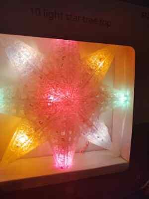 """December Home 10 Light Up White Star Christmas Lights 8"""" Tall Tree Topper"""
