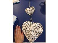 Hanging Rattan Hearts