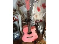 Gear4music Pink Guitar and stand