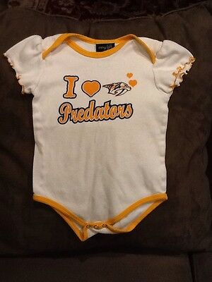 Nashville Predators Baby Girl Infant Romper Creeper Outfit Size 18 - Predator Outfit