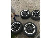 "4x100 15"" 7j et25 alloy wheels with new tyres honda civic vw polo"