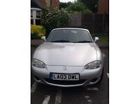 Mazda MX-5 Angels. Silver convertible, with tonneau cover. New MOT. VGC, great fun to drive