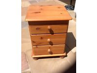 Pine 3 draw bedside tables, great working order & very easy up cycle.