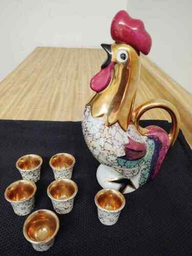 MCM rooster decanter, barware, Italian? ceramic with 6 shot glasses.