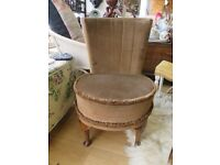 Vintage retro 1950s or even earlier, padded chair, in beautiful condition.