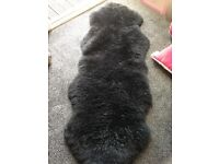 100% sheepskin double black rug