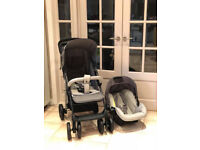 Exdisplay Hauck 2 in 1 travel system pram pushchair grey shopper with car seat & raincover ONLY £99