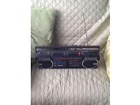 Retro boom box cassette stereo player