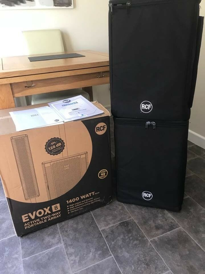 RCF EVOX 8 V2 x2 -ACTIVE TWO WAY ARRAY SPEAKERS PAIR WITH ORIG COVERS/BOX |  in Weston-super-Mare, Somerset | Gumtree