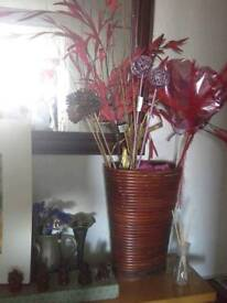 Wicker Vase with Ornaments