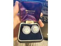 Reduced Price- GOLD PLATED WEDGWOOD BLUE JASPER CUFFLINKS