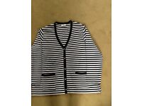Plus size 2XL Designer navy and white striped cardigan PERFECT
