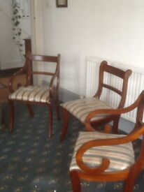 6 dining room chairs including 2 carvers