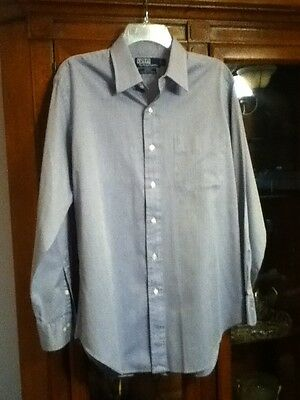 Mens 15.5 32/33 Ralph Lauren Polo ~ANDREW~ 100% Two-Ply Cotton Blue Oxford Shirt