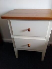 Ikea cream and wood bedside cabinet with 3 drawers