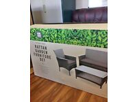 RATTEN GARDEN SET,BRAND NEW IN BOX, SOFA, 2 CHAIRS GLASS TOP COFFEE TABLE, BARGAIN £100, CAN DELIVER