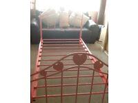 Girls pink metal bed frame
