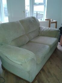 3 AND 2 SEATER FABRIC SOFA COULD DO WITH A CLEAN BUT STRUCTURALLY SOUND ABSOLUTE BARGAIN AT £60