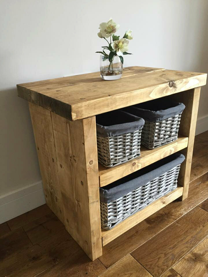 Rustic Wood Bedside Table: Rustic Bedside Table / Chunky Hand Made Farmhouse Style