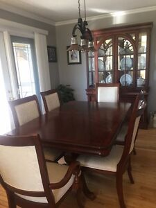 Dark Cherry Dinning Room Table and Buffet and Hutch