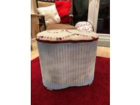 Lloyd Loom Kidney Shaped Small Ottoman - Up-cycled & Re-upholstered