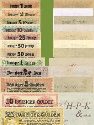 (Reproduktionen !)  Banknoten besetzter deutscher Gebiete Danzig 22.10.1923