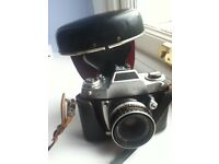 EXA11B SLR Camera with leather case and extension tubes.