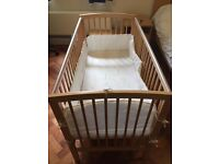 Baby Cot Beech Wood Bed 120cm x 60cm with Mattress and Teething Rail