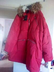 Brand new red padded coat size 32