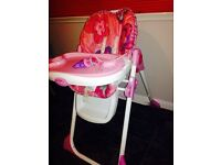 Fisher Price Pink High Chair Excellent condition
