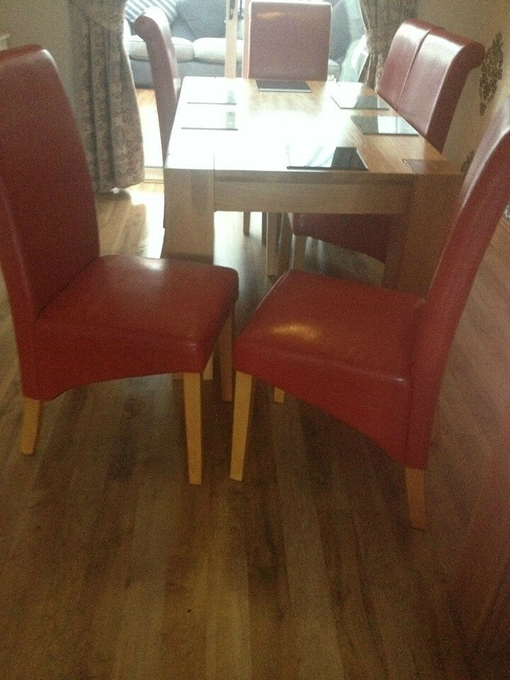 6 red leather dining room chairs only united kingdom
