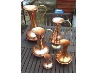 6 X Vintage Copper & Brass Jugs /Ewers