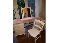 Lovely Shabby Chic dressing table, mirror and chair