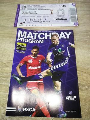 Ticket + Programme : RSC Anderlecht - Royal Antwerp 2018/2019