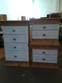 Pine chest of drawers with 2 bedsides