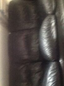 Black leather sofa and chair some marks and scuffs but comfy