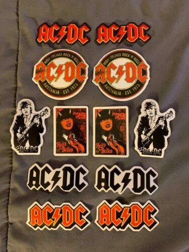 """Lot of (12) AC/DC 1"""" to 3"""" Band Logo Stickers FAST! FREE SHIP! Angus Young"""