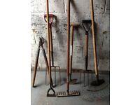 Garden tools, rakes, forks, hoe, branch lopper, lawn edger