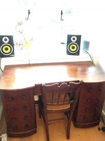 Antique Wooden Writing Desk with Chair