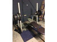 Bench press squat rack weights bench