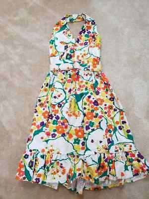 1970s Vintage Bright Flower Print Halter Mod Disco Party Dress SM XS (1970s Disco Dress)