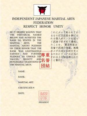 Martial Art Rank Recognition Certificate