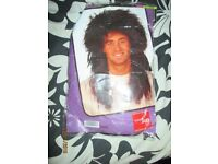 80s STYLE DARK LONG MULLET FANCY DRESS WIG PARTY OR STAG DO
