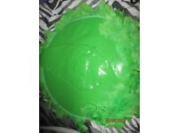 GREEN PVC LARGE WITCH HAT GREEN WITH FEATHER TRIM NEW GREAT FOR HALLOWEEN