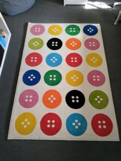 IKEA Rug Rainbow Button Pattern Kids Low Pile Excellent Condition