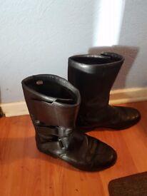 Black Leather Biker Boots Size 9
