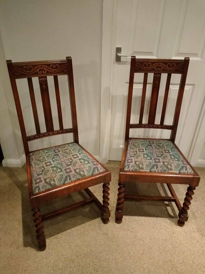 Furniture Legs Edinburgh antique vintage arts and craft oak barley twist leg dining chairs